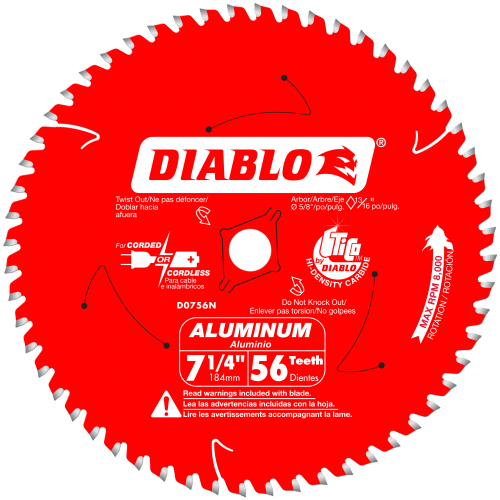 Diablo Thick Aluminum Cutting Saw Blade 7 1/4 - 12
