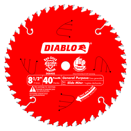 DIABLO D0840S  8‑1/2 x 40 Tooth General Purpose Slide Miter Saw Blade