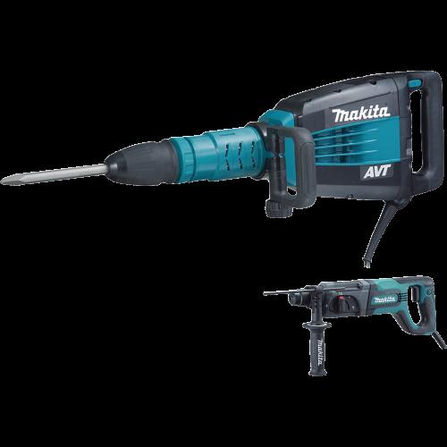Makita HM1214CX 27 lb. AVT® Demolition Hammer, accepts SDS‑MAX bits and 1 Rotary Hammer