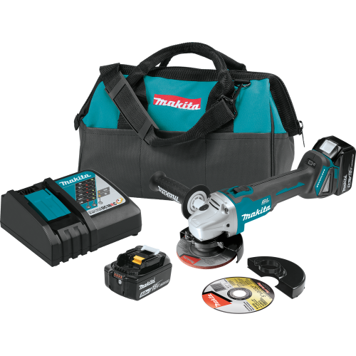 """Makita XAG04T  18V LXT® Lithium‑Ion Brushless Cordless 4‑1/2"""" / 5 Cut‑Off/Angle Grinder Kit (5.0Ah)"""
