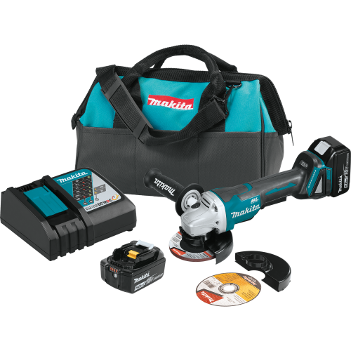 """Makita XAG11T 18V LXT® Lithium‑Ion Brushless Cordless 4‑1/2"""" / 5 Paddle Switch Cut‑Off/Angle Grinder Kit, with Electric Brake (5.0Ah)"""