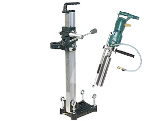 CS Unitec 3.8 HP 3-SPEED PNEUMATIC HAND HELD DIAMOND CORE DRILLS FOR HOLES UP TO 6 DIAMETER w/Stand