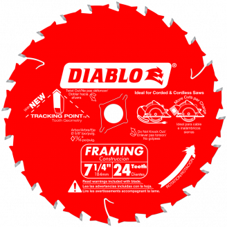 Diablo 7‑1/4 in. x 24 Tooth Framing Saw Blade  #D0724W/A