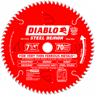 DIABLO - STEEL DEMON 7‑1/4 in. x 70 Tooth Metal Cutting Saw Blade Metal Cutting -20mm Arbor