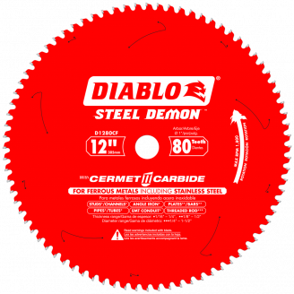 DIABLO - STEEL DEMON 12 in. x 80 Tooth Cermet Metal and Stainless Steel Cutting Saw Blade Thin Metal Cutting