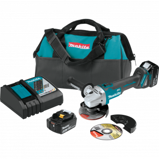 "Makita XAG04T  18V LXT® Lithium‑Ion Brushless Cordless 4‑1/2"" / 5 Cut‑Off/Angle Grinder Kit (5.0Ah)"