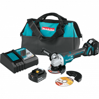 "Makita XAG11T 18V LXT® Lithium‑Ion Brushless Cordless 4‑1/2"" / 5 Paddle Switch Cut‑Off/Angle Grinder Kit, with Electric Brake (5.0Ah)"