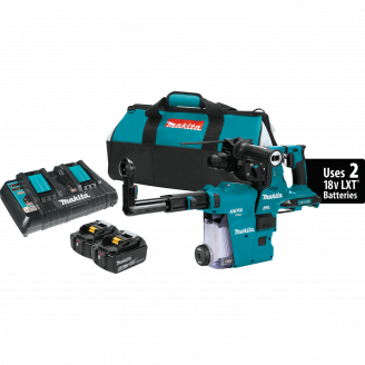 Makita XRH10PTW X2 LXT® (36V) Brushless Cordless 1‑1/8 AVT® Rotary Hammer Kit, SDS‑PLUS, w/ HEPA Dust Extractor, AFT®, AWS™ Capable (5.0Ah)
