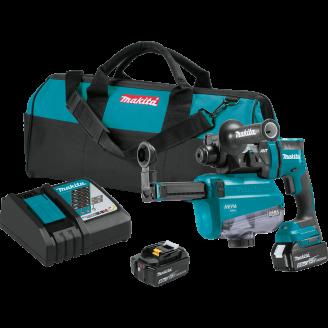 Makita XRH12TW 18V LXT® Lithium‑Ion Brushless Cordless 11/16 AVT® Rotary Hammer Kit, SDS‑PLUS, w/ HEPA Dust Extractor, AWS™ Capable (5.0Ah)