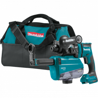 Makita XRH12ZW LXT® Lithium‑Ion Brushless Cordless 11/16 AVT® Rotary Hammer, SDS‑PLUS, w/ HEPA Dust Extractor, AWS™ Capable, Tool Only